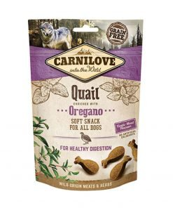 Recompensa caini Carnilove Dog Semi Moist Snack Quail with Oregano
