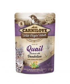 Hrana umeda pisici Carnilove Cat Pouch Rich in Quail with Dandelion for Sterilised