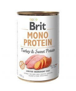 Hrana umeda caini Brit Mono Protein Turkey and Sweet Potato