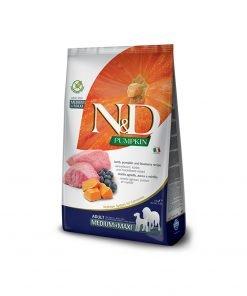 Hrana uscata caini N & D Pumpkin Lamb and Blueberry Adult Medium and Maxi