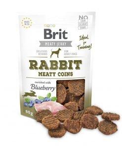Brit jerky rabbit meaty coins recompense caini cu carne de iepure