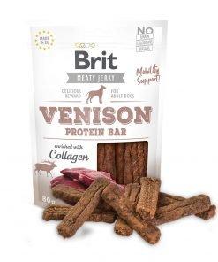 brit jerky venison protein bar snack pentru caini cu vanat